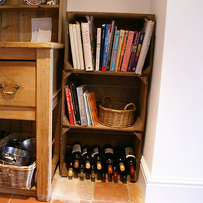 Rustic Old Vintage French Set Of Shelves Bookcase - Set Of 3 Pear Crates Boxes: