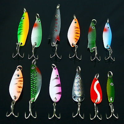 Lot Of 12 Assorted Spoons Metal Fishing Lures Hooks Fishing Baits New Design