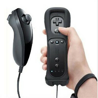 Black  Built in Motion Plus Remote  And Nunchuck For Nintendo W i  i  &W i i U