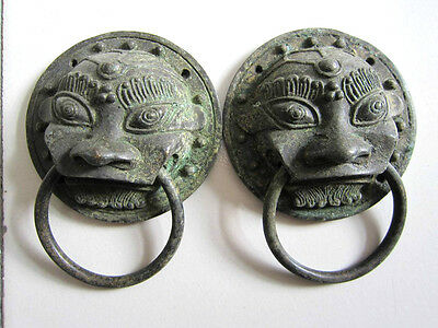 Chinese bronze pair door knocker beast-head ward off evil old