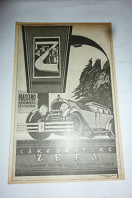 advertising pubblicita' CARBURATORE ZETA  - - 1926