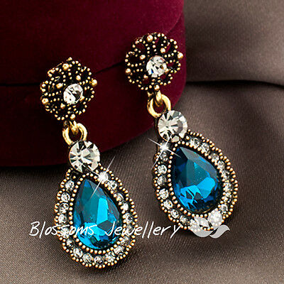 Vintage ANTIQUE STL Dark GOLD GP Blue TEARDROP EARRINGS SWAROVSKI CRYSTAL DY4738
