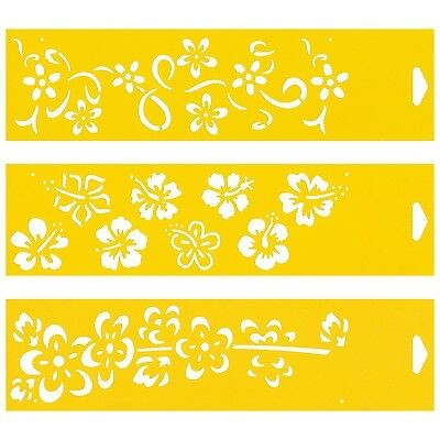 3 Stencils Cake Wall Airbrush Decorating Drawing Template Caribbean Flowers