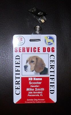 Service Dog ID Card for Working Dog ID Badge Service Animal Custom Certified 30