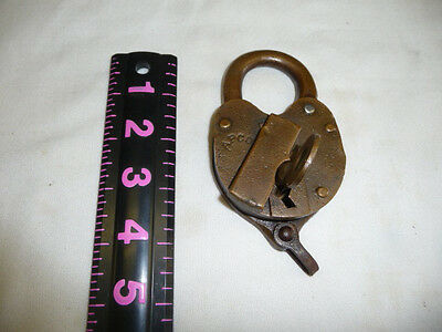 Large Antique Brass Century Cast Iron Lock & Key Working STAMPED APCO