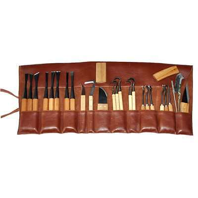 Carving Set - 25  Pcs in Leather (Leatherette) Roll