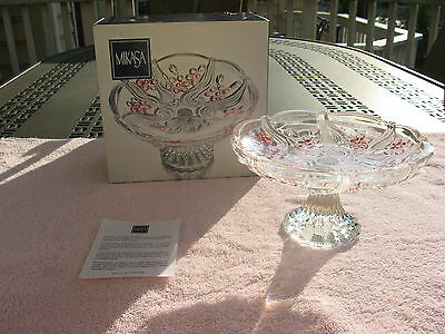 """Mikasa Floral Dance Pink Frost / 7"""" Footed Plate SA328/527 Germany"""