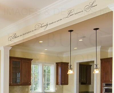 Bless the Food Family Love Religious Dining Room Wall Decal Vinyl Mural Art A12