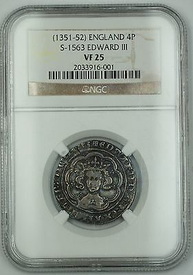 (1351-52) England Silver Groat Fourpence 4P Coin S-1563 Edward III NGC VF-25 AKR