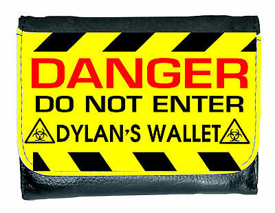 Personalised Danger Keep Out Leather Look Wallet Lovely Gift for Boys Xmas Gift