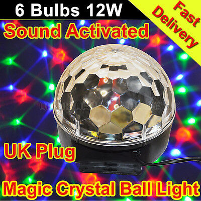 12W RGB LED Magic Crystal Ball Stage Effect Light Voice Clap Activated DJ Disco