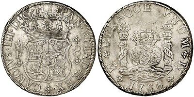 1768 Spanish Silver Coin Carlos III Monarchi 8 Reales MF SS 518- 0510