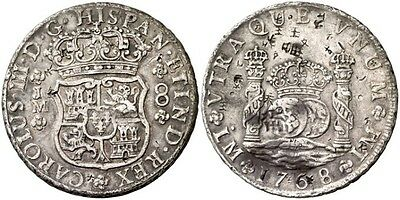 1768 Spanish Silver Coin Carlos III Monarchi 8 Reales JM SS 885-0510