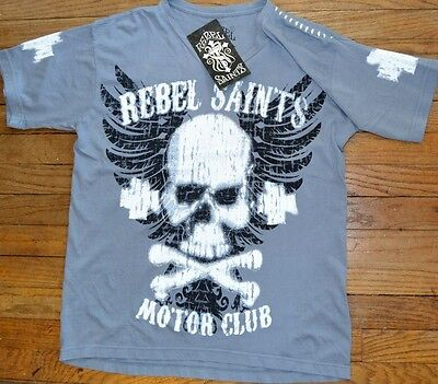 """Rebel Saints by AFFLICTION """"Graffiti"""" 2-Sided Graphic T-Shirt Adult Sizes"""