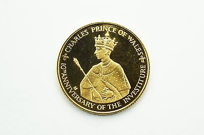 RARE 100 Dollars - Elizabeth II Investiture of Prince Charles Jamaica Gold Coin