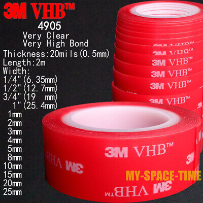 3M VHB #4905 Double-sided Clear Transparent Acrylic Foam Adhesive Tape Length 2m