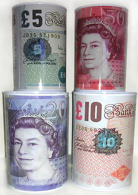 Prima £5 £10 £20 £50 Pound Note Design Kids Money Box Tin Saving Cash