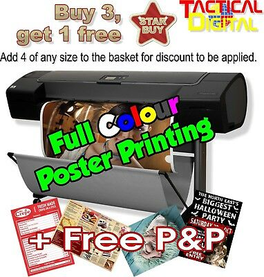 High Quality Poster Printing A2, A3, A4, A5  Buy 3 get 4th FREE