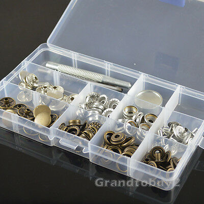 15mm 30 Poppers Snap Fasteners Press Stud Kit w/Tool inBox Sewing Leather Button