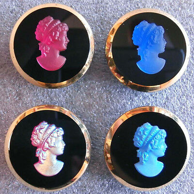 Collection of 4 Czech Glass Vintage (1950's)  Buttons #D64 - CRYSTAL GLASS CAMEO