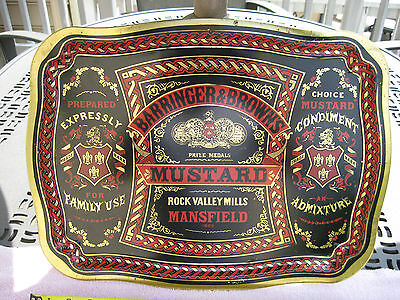 """Vintage Barringer & Brown's Mustard Ad Serving Tray~ 16 7/8"""" X 12 5/8""""~England"""