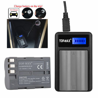 Battery / USB Charger For Nikon EN-EL3E D90 D80 D50 D70 D100 D200 D300S Type