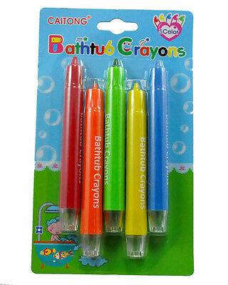 New extra large non toxic bath crayons, washable bath tub 5 colours wash off fun