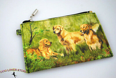 Golden Retriever Dog Bag Zippered Pouch Travel Makeup Coin Purse