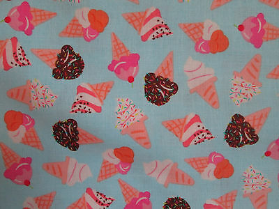 Ice Creme Cones Blue Ice Cream Cotton Fabric Fq