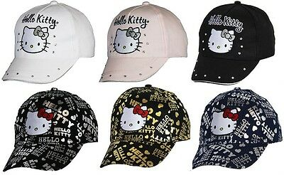Hello Kitty Baseball Cap Diamante White Pink Black Blue Silver Gold. Size Choice