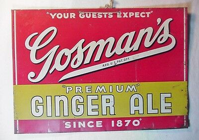 RARE OLD GOSMAN'S PREMIUM GINGER ALE SINCE 1870 PAINTED STEEL STORE DISPLAY SIGN