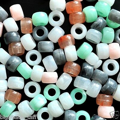 acrylic pony beads, jade imitation, 9 x 6mm, options for colors and quantities
