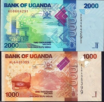 Uganda 2010 , 1000/2000 Shillings , Banknote set of 2 UNC