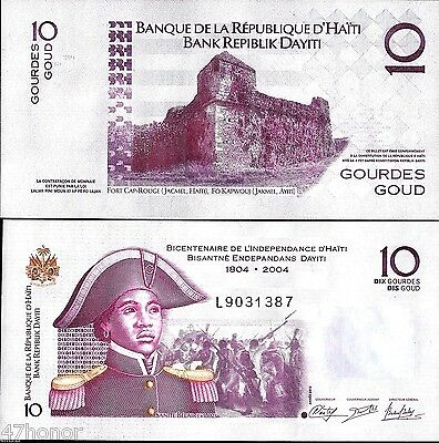 Haiti  2012 ,10 Gourdes , Comm. 200 Years of Independence Banknote UNC
