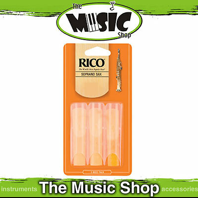 Rico 3 Strength Soprano Saxophone Reeds - 3 Pack - Sax Reed Box of 3