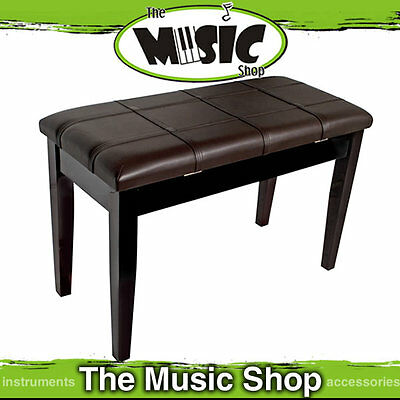 AMS Piano/Keyboard Stool with Padded Seat & Storage - Polished Mahogany - KTW12M