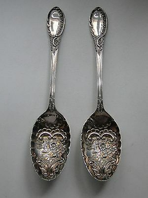 Silver Plated Serving Spoons, Chased & Engraved, 1880, Victorian English