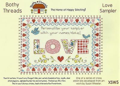 BOTHY THREADS LOVE SAMPLER COUNTED CROSS STITCH KIT PERSONALISE 23x17cm - NEW