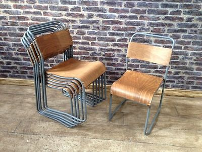 Industrial Metal Stacking Chairs With Grey Frame Large Quantity Available