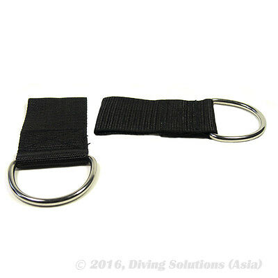 2 x SS D-Rings Loop Webbing BCD, Weight Belt Attachment