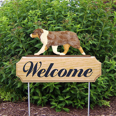 Australian Shepherd Dog Breed Oak Wood Welcome Outdoor Yard Sign Red Merle