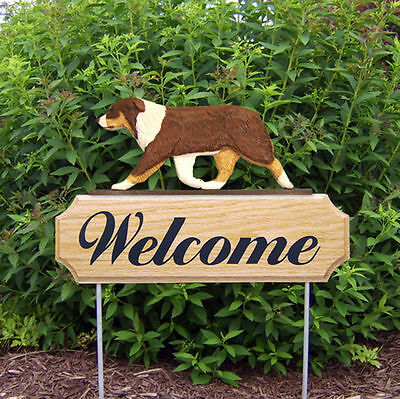 Australian Shepherd Dog Breed Oak Wood Welcome Outdoor Yard Sign Red Tri