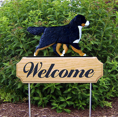 Bernese Mountain Dog Dog Breed Oak Wood Welcome Outdoor Yard Sign