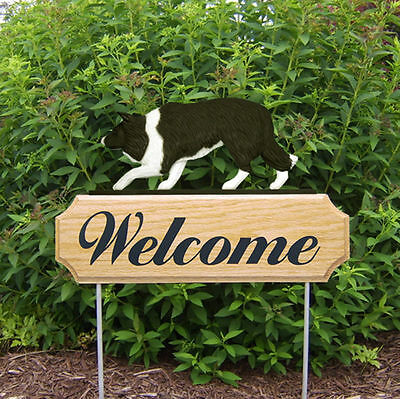 Border Collie Dog Breed Oak Wood Welcome Outdoor Yard Sign Black