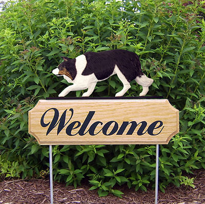 Border Collie Dog Breed Oak Wood Welcome Outdoor Yard Sign Black Tri