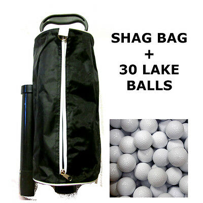 "Shag Bag  & 30 Lake Balls Included ""new"" Practice  Golf Ball Collector"