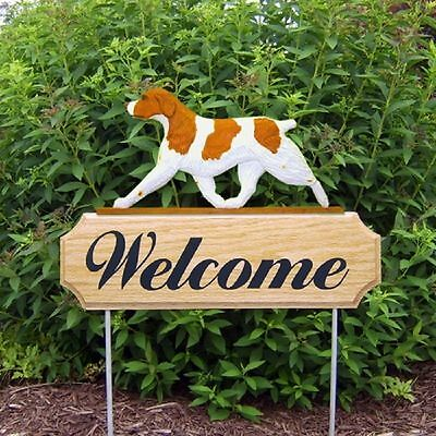 Brittany Spaniel Dog Breed Oak Wood Welcome Outdoor Yard Sign Orange