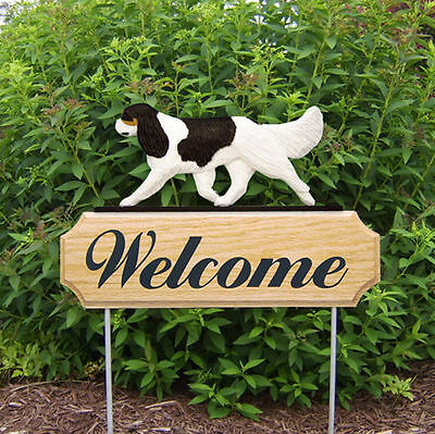 Cavalier King Charles Spaniel Dog Breed Oak Wood Welcome Outdoor Yard Sign Black
