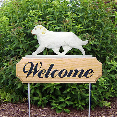 Clumber Spaniel Wood Welcome Outdoor Sign Lemon