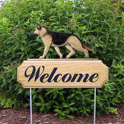 German Shepherd Wood Welcome Outdoor Sign Tan w/ Black Saddle